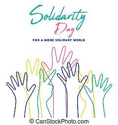 Menschliche Solidarität Tag bunte Hände illustrieren.