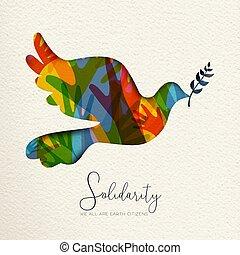 Menschliche Solidarkarte des Vogels und verschiedene Hände