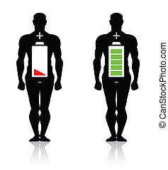 Menschlicher Körper mit niedriger Batterie