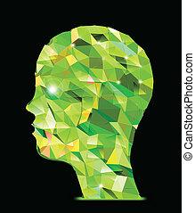 Menschlicher Kopf. Illustration der Dreiecke abbrechen