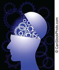 Menschlicher Kopf mit Ausrüstung