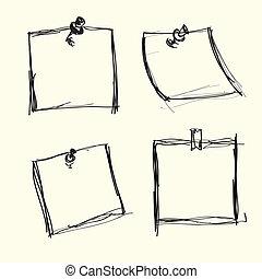 merkzettel, pushpins, papiere, gezeichnet, hand