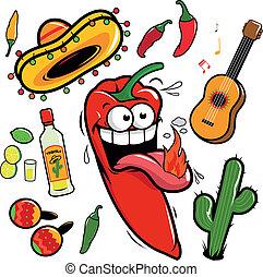 mexikanisch, pepper., mariachi, sammlung, vektor, chili, karikatur