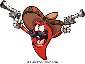 mexikanisch, pfeffer, chili