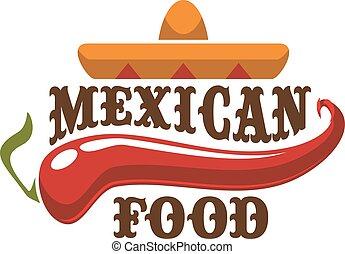 mexikanische nahrung, vektor, emblem, oder, ikone
