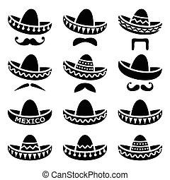 mexikanischer Sombrerohut mit Schnurrbart.