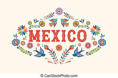 Mexiko Hintergrund, Banner mit bunten mexikanischen Blumen, Vögeln und Elementen