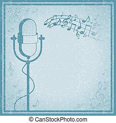 Mikrophon mit Musik auf Vintage Hintergrund.