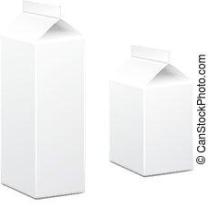 Milch- und Saftkarton-Pakete leerweiß, Vector.