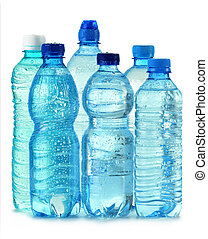 mineral, freigestellt, plastik, wasser, polycarbonate, flasche, weißes