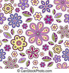 Mit farbenfrohen Blumen.