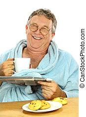 Mittelalter Mann beim Frühstück
