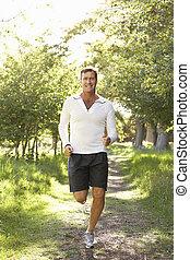 Mittelalter Mann joggt im Park