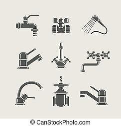 mixer, hahn, water-supply, ventil, wasser, satz, hahn, ikone