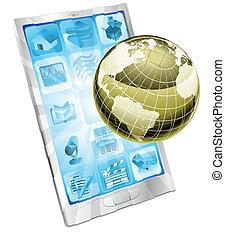 Mobile Telefon- Globe-Konzept