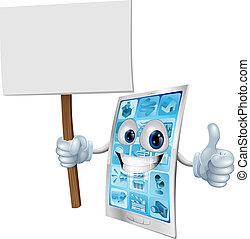 Mobile Telefon-Maskottchen-Haltungszeichen