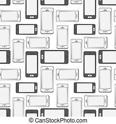 Mobilfunkgeräte, Smartphone, nahtloser Musterhintergrund