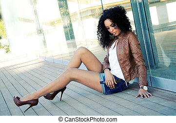 mode, schwarz, modell, junger, porträt, frau