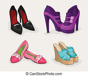 Modekollektion von Frauenschuhen.