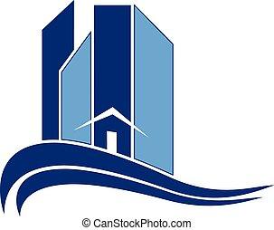 Moderne Gebäude mit Wellenlogo