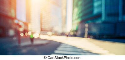 Moderne Stadt Sunrise Bokeh Hintergrund