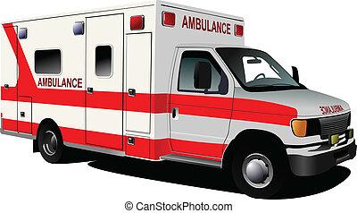Moderner Krankenwagen-Van über weiß. C