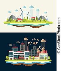 Modernes flaches Design ökologische Illustration.