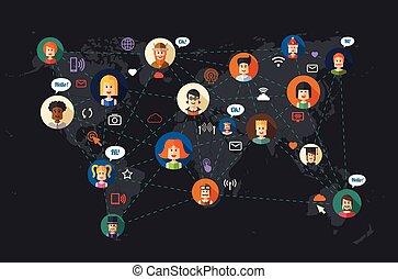Modernes flaches Design Illustration der Menschen sozialen Netzwerk communi.