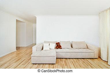 Modernes Heim mit kostenloser Mauer