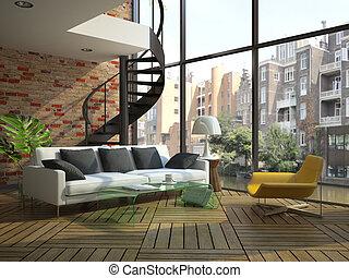 Modernes Loft-Insider mit einem Teil des zweiten Stocks