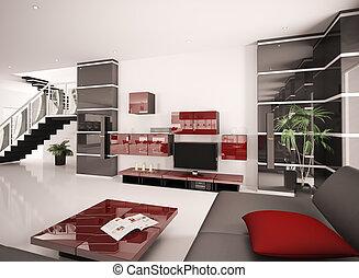 Modernes Wohnzimmer, Innenausstattung 3D