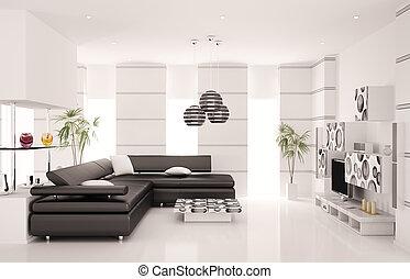 Modernes Wohnzimmer mit 3D Render.