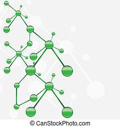 Molekulierter grüner Silber Hintergrund