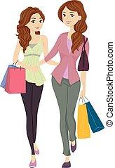 Mom und Tochter einkaufen.