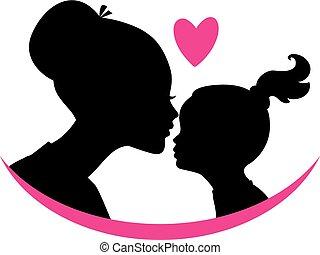 Mom und Tochter lieben.