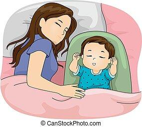Mom und Tochter schlafen.
