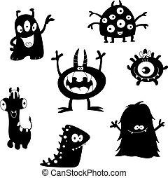 monster, silhouetten, reizend