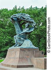 Monument von Chopin. Warschau, poland.