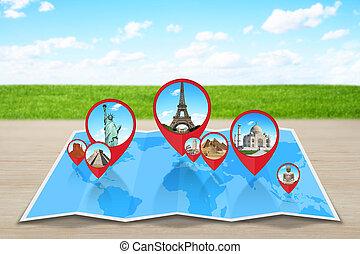 Monumente der Welt auf einer Karte.