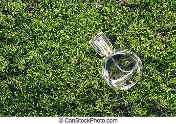 moos, flasche, duft, begriff, parfüm, schöne , hintergrund., schoenheit, natur