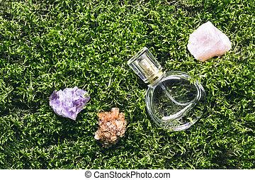 moos, flasche, steine, duft, begriff, parfüm, schöne , hintergrund., schoenheit, mineralien, natur
