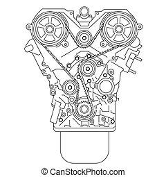 motor, intern, verbrennung