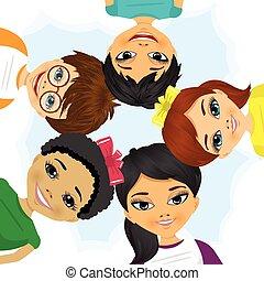 multi-ethnisch, formung, kreis, gruppe, kinder