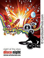 Musci Flyer Hintergrund mit DJ Silhouette.