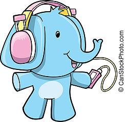 Musik-Elefantenvektor Illustration