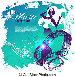 Musik Hintergrund mit hand gezeichneter Illustration und Tanzmädchen Silhouette. Splash Blub Retro Design