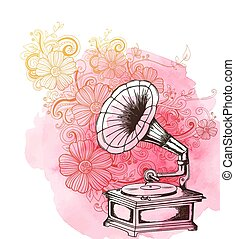 Musik Hintergrund mit klassischem Grammophon