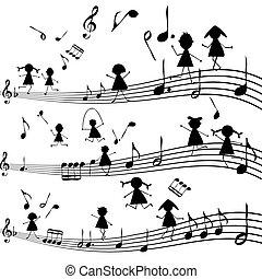 Musik mit stilisierten Kindern Silhouetten.