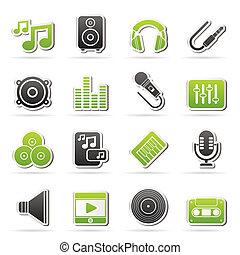 Musik, Ton und Audio-Icons.