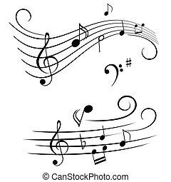 Musikalische Noten auf Stand